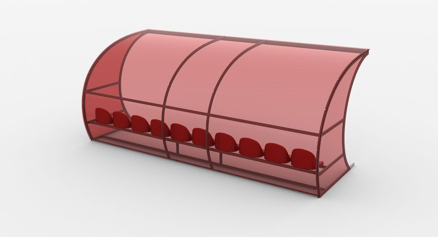 Bench for Reserve Players royalty-free 3d model - Preview no. 6