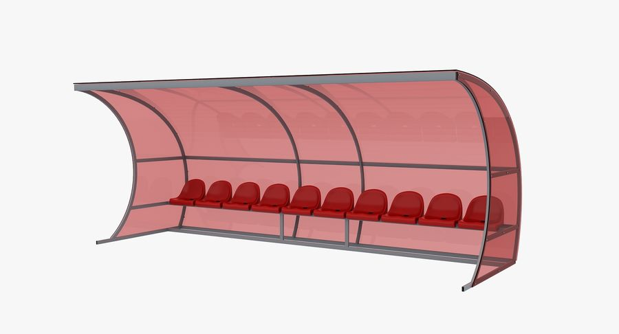 Bench for Reserve Players royalty-free 3d model - Preview no. 2