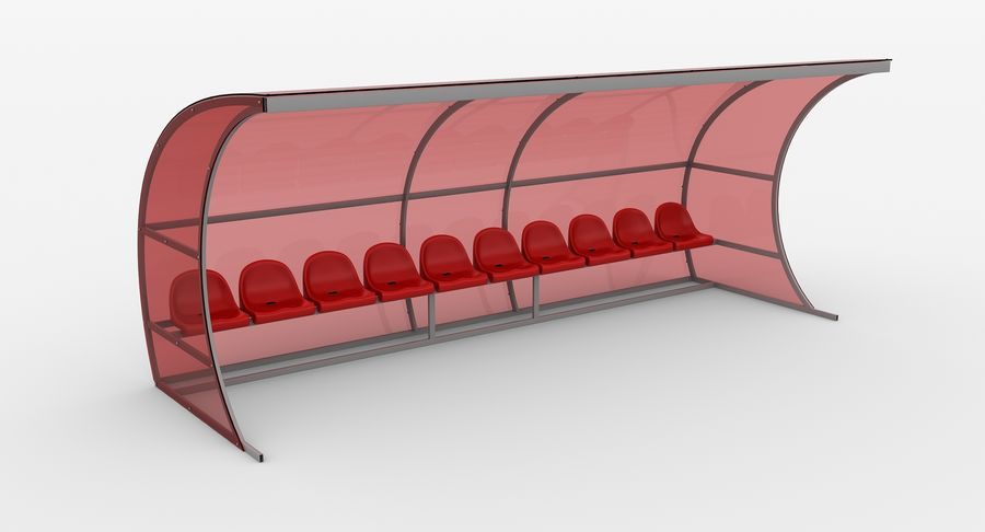 Bench for Reserve Players royalty-free 3d model - Preview no. 4
