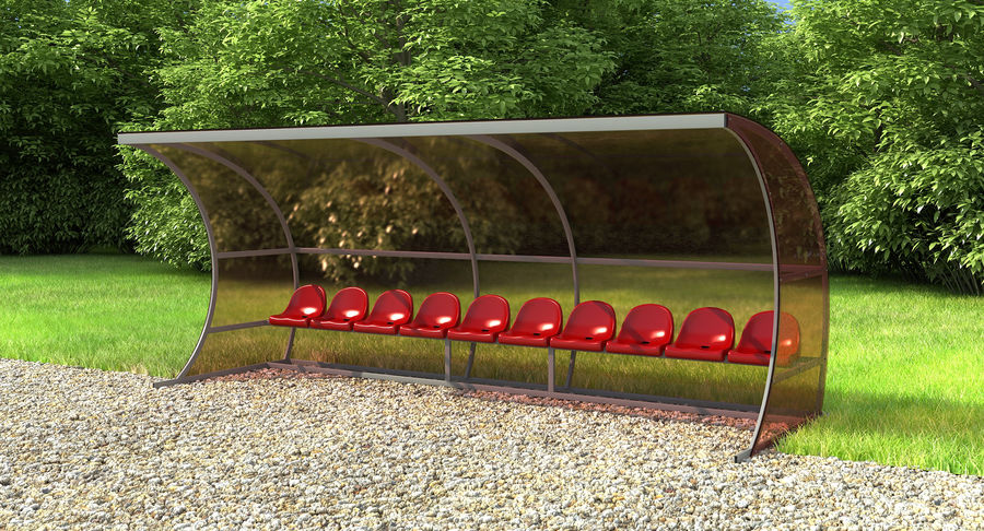 Bench for Reserve Players royalty-free 3d model - Preview no. 3