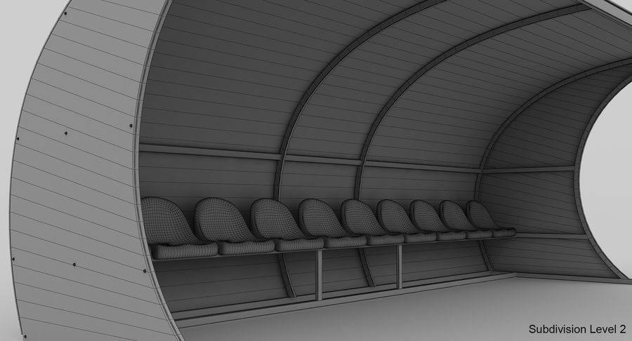 Bench for Reserve Players royalty-free 3d model - Preview no. 11