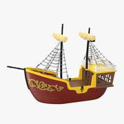 おもちゃの帆船3赤 3d model