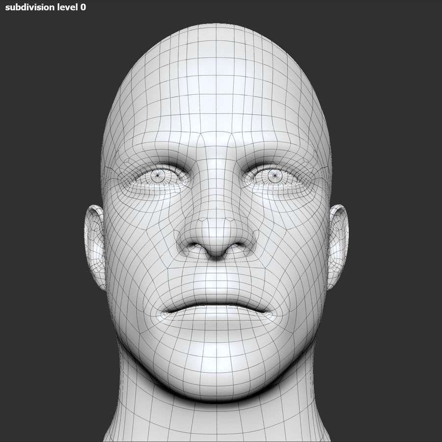 男性の頭3 royalty-free 3d model - Preview no. 13