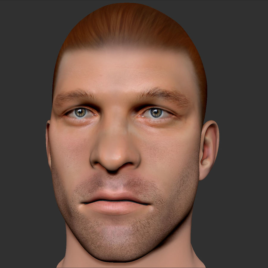 男性の頭3 royalty-free 3d model - Preview no. 7