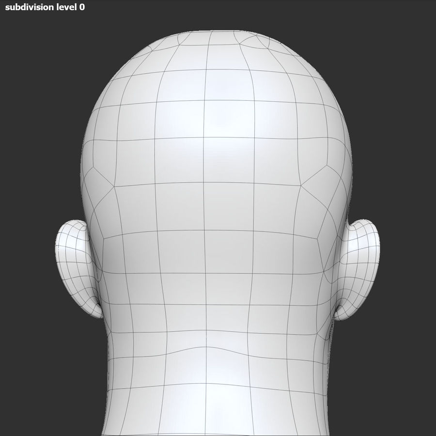 男性の頭3 royalty-free 3d model - Preview no. 15