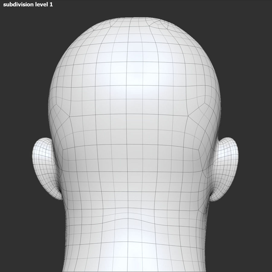 男性の頭3 royalty-free 3d model - Preview no. 20
