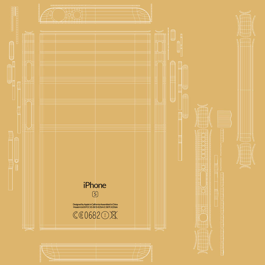 iPhone 6S Gold royalty-free modelo 3d - Preview no. 26