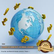 Para birimi simgesi olan dünya 3d model