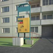 Street Flat Building 3d model