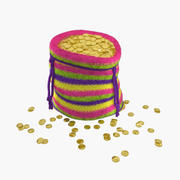 Knitted Bag with Gold Coins 3d model