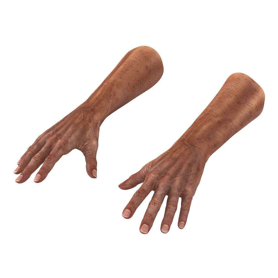 Old Man Hands 3D Model royalty-free 3d model - Preview no. 2