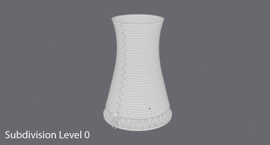 Torre de resfriamento nuclear envelhecida royalty-free 3d model - Preview no. 9