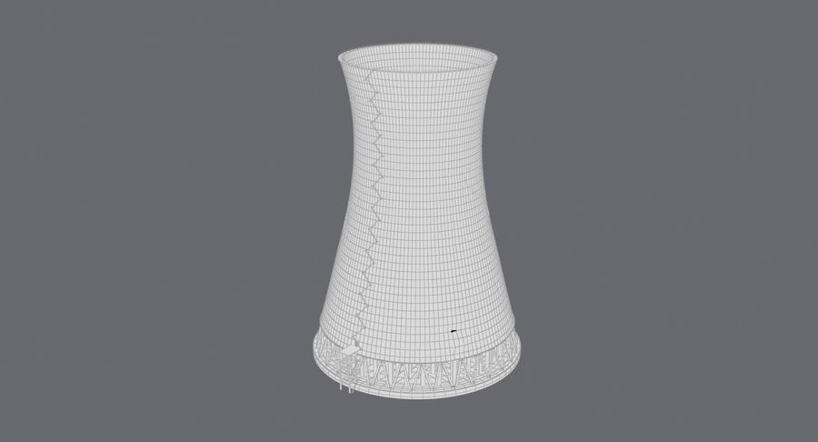 Torre de resfriamento nuclear envelhecida royalty-free 3d model - Preview no. 13