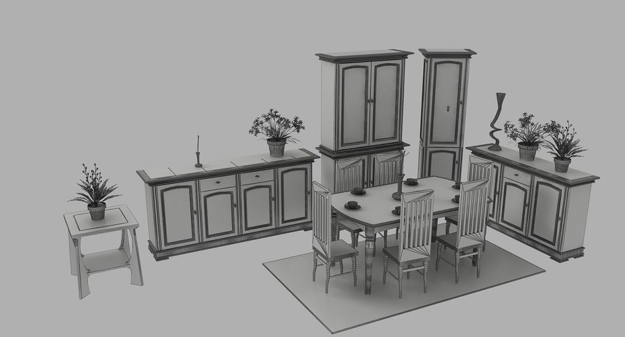 Muebles Clásicos (1) royalty-free modelo 3d - Preview no. 10