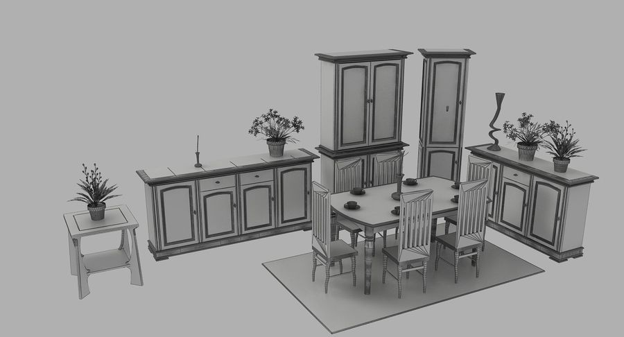 Classic Furniture(1) royalty-free 3d model - Preview no. 10