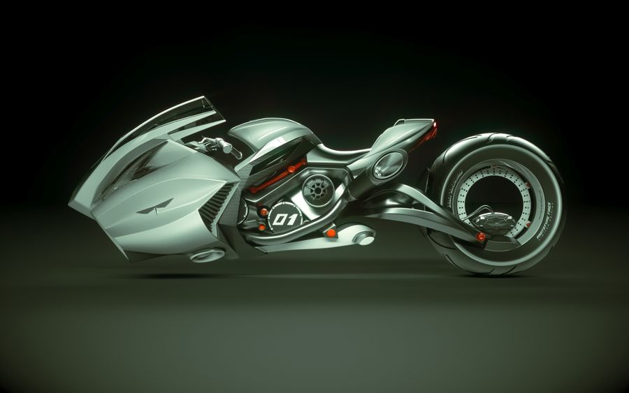 \\ T // Lightning Semi-Hover Bike royalty-free 3d model - Preview no. 4