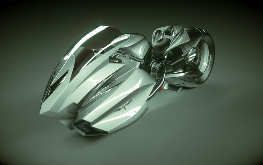 \\ T // Lightning Semi-Hover Bike royalty-free 3d model - Preview no. 3