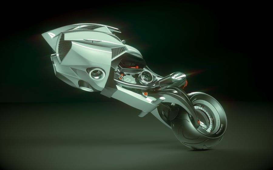 \\ T // Lightning Semi-Hover Bike royalty-free 3d model - Preview no. 2