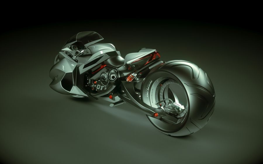 \\ T // Lightning Semi-Hover Bike royalty-free 3d model - Preview no. 6