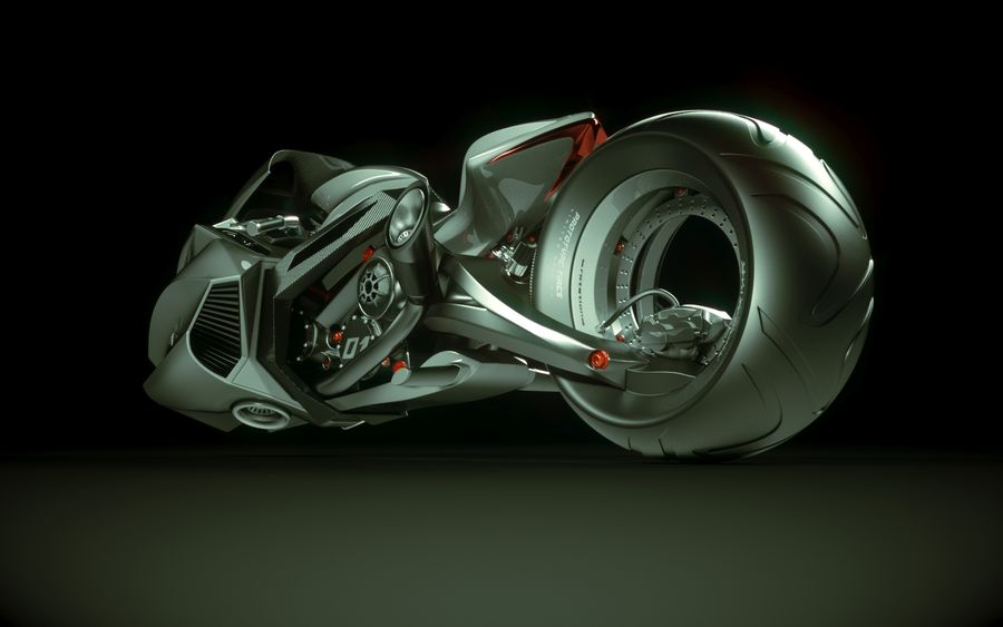 \\ T // Lightning Semi-Hover Bike royalty-free 3d model - Preview no. 7