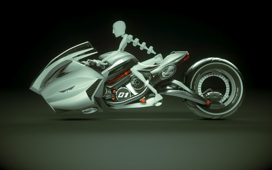 \\ T // Lightning Semi-Hover Bike royalty-free 3d model - Preview no. 12