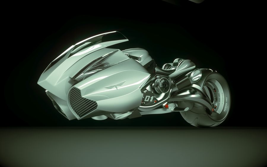 \\ T // Lightning Semi-Hover Bike royalty-free 3d model - Preview no. 13