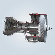Jet Engine Cutaway 3d model