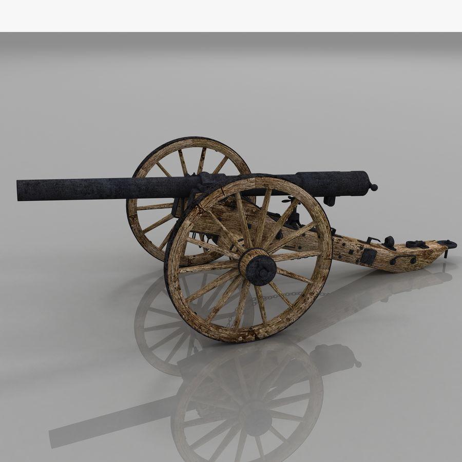 Civil War Cannon royalty-free 3d model - Preview no. 4