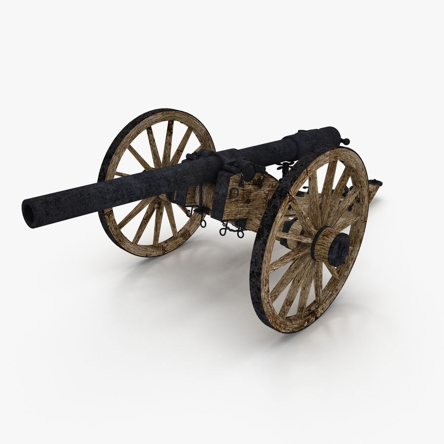Civil War Cannon royalty-free 3d model - Preview no. 1