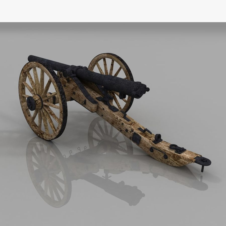 Civil War Cannon royalty-free 3d model - Preview no. 9