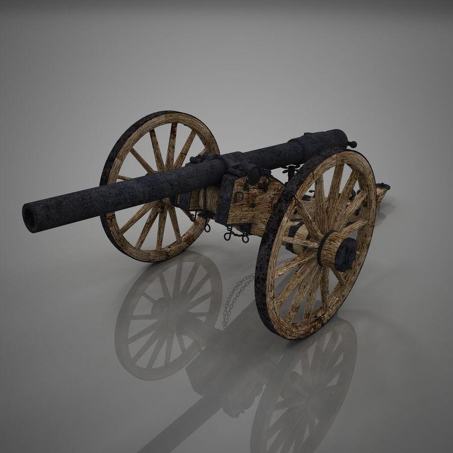 Civil War Cannon royalty-free 3d model - Preview no. 2