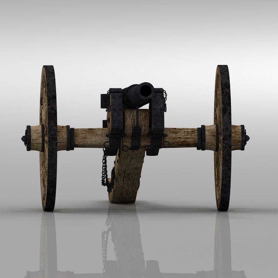 Civil War Cannon royalty-free 3d model - Preview no. 3
