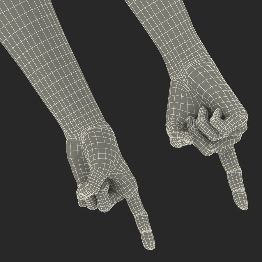 Old African Man Hands Pose 2 royalty-free 3d model - Preview no. 31