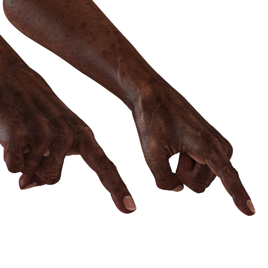 Old African Man Hands Pose 2 royalty-free 3d model - Preview no. 13