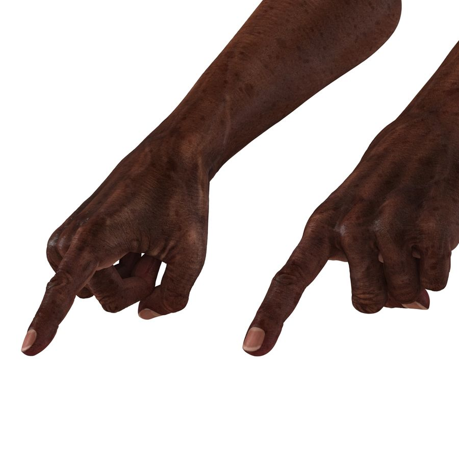 Old African Man Hands Pose 2 royalty-free 3d model - Preview no. 12