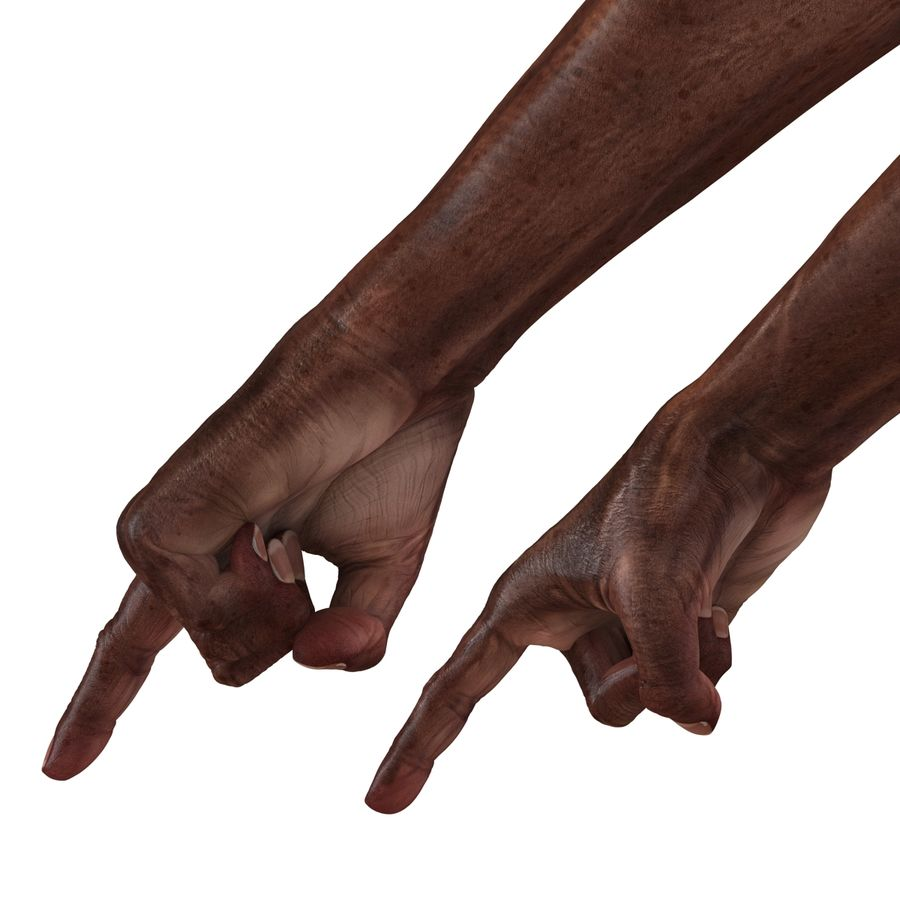 Old African Man Hands Pose 2 royalty-free 3d model - Preview no. 14