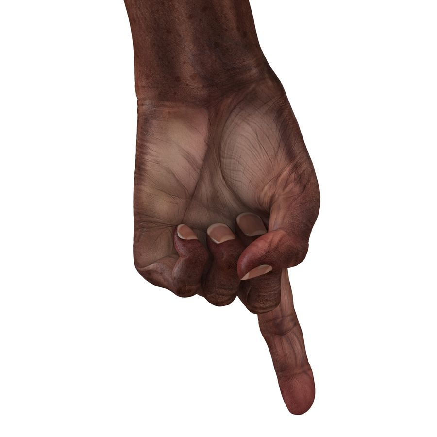 Old African Man Hands Pose 2 royalty-free 3d model - Preview no. 21