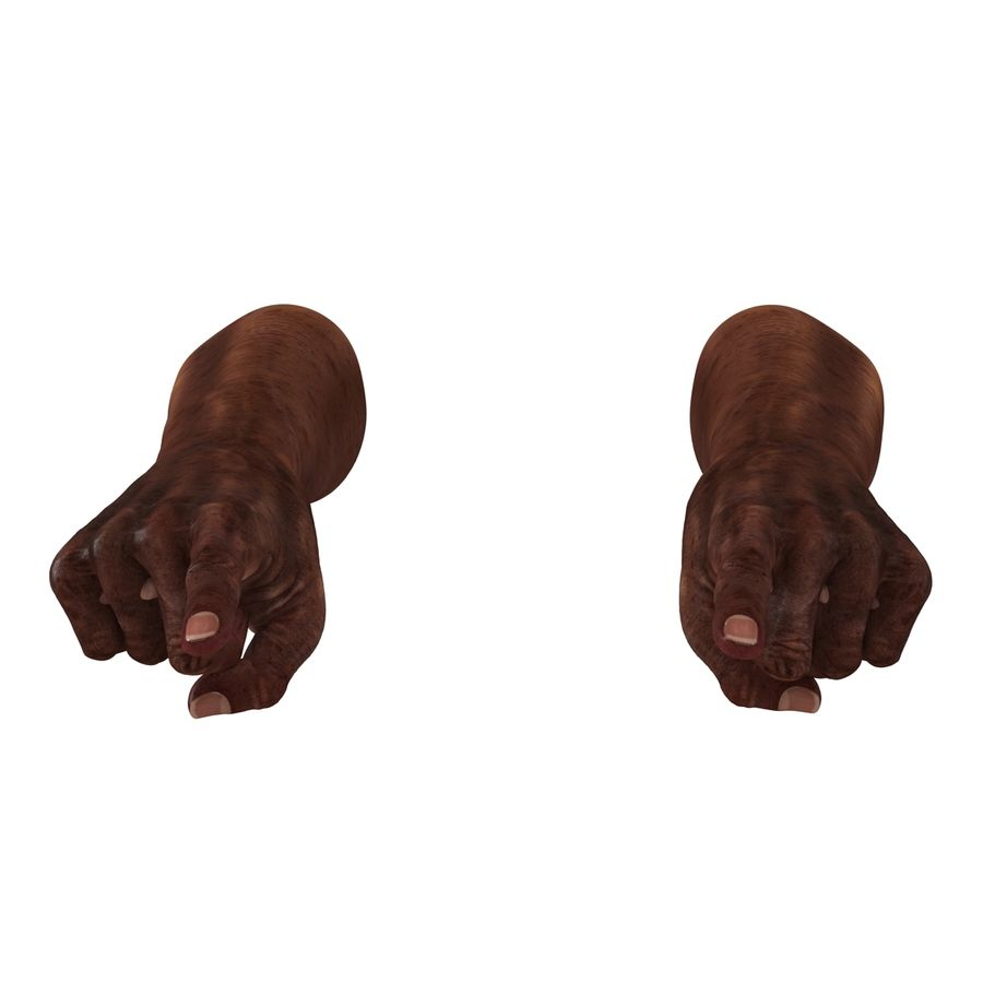 Old African Man Hands Pose 2 royalty-free 3d model - Preview no. 8
