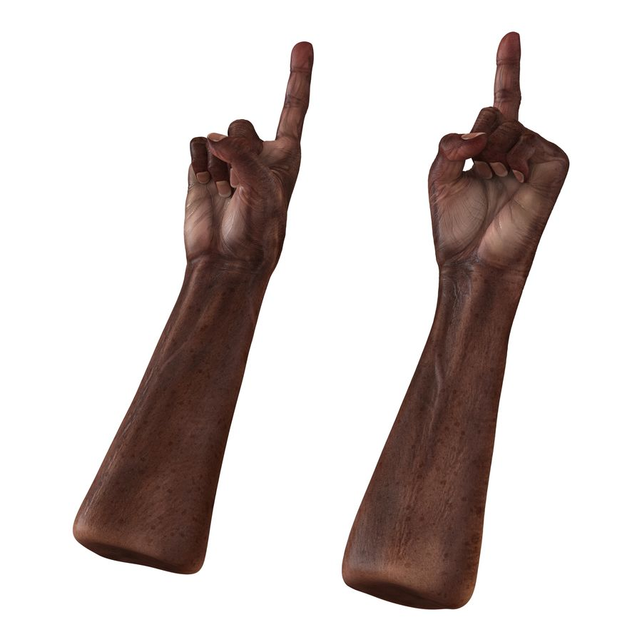 Old African Man Hands Pose 2 royalty-free 3d model - Preview no. 2