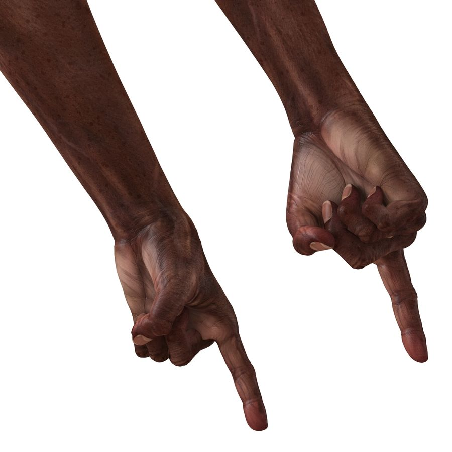 Old African Man Hands Pose 2 royalty-free 3d model - Preview no. 11