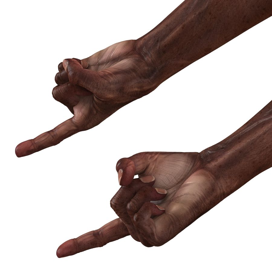 Old African Man Hands Pose 2 royalty-free 3d model - Preview no. 15