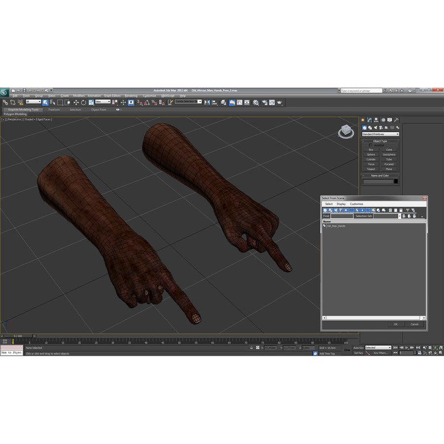Old African Man Hands Pose 2 royalty-free 3d model - Preview no. 27