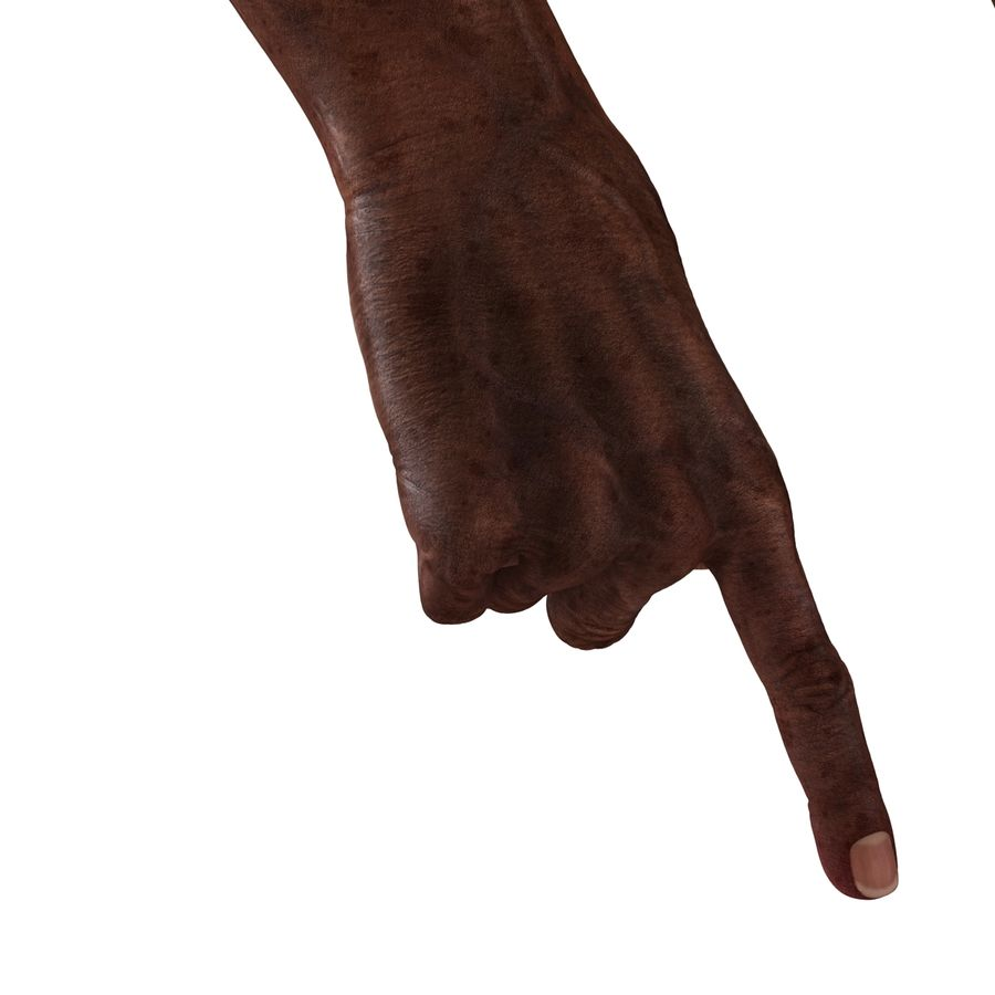 Old African Man Hands Pose 2 royalty-free 3d model - Preview no. 19