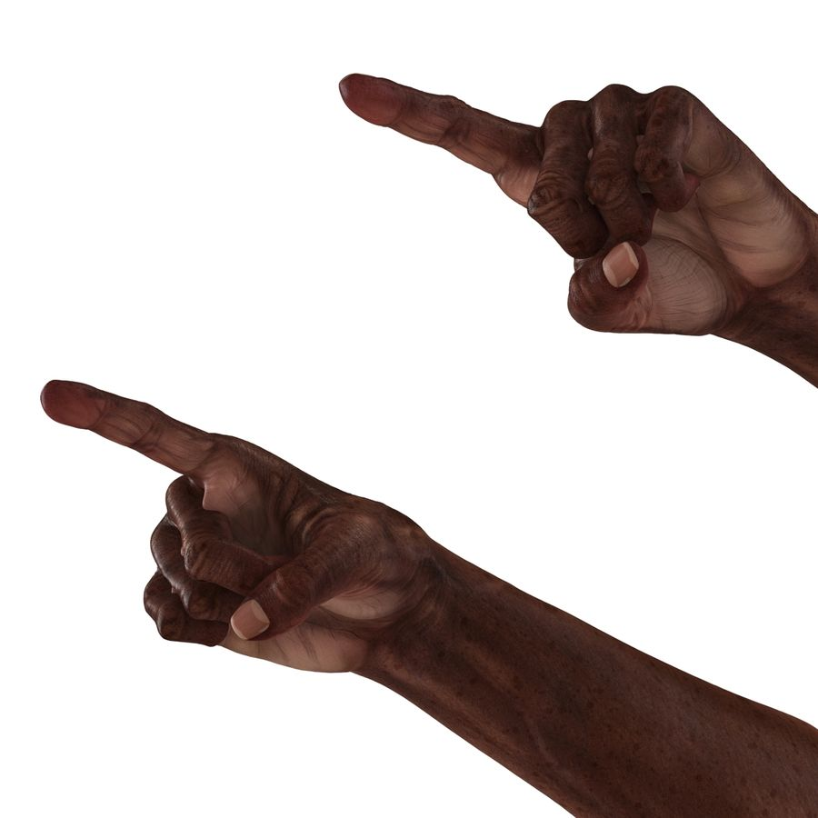 Old African Man Hands Pose 2 royalty-free 3d model - Preview no. 16