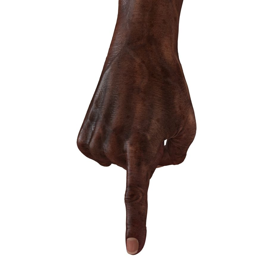 Old African Man Hands Pose 2 royalty-free 3d model - Preview no. 20