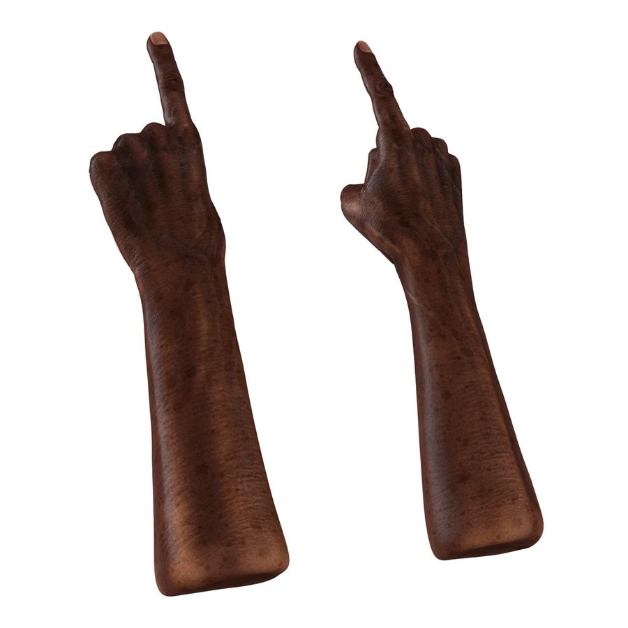 Old African Man Hands Pose 2 royalty-free 3d model - Preview no. 7