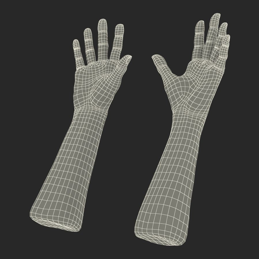 Old Man Hands 2 royalty-free 3d model - Preview no. 30