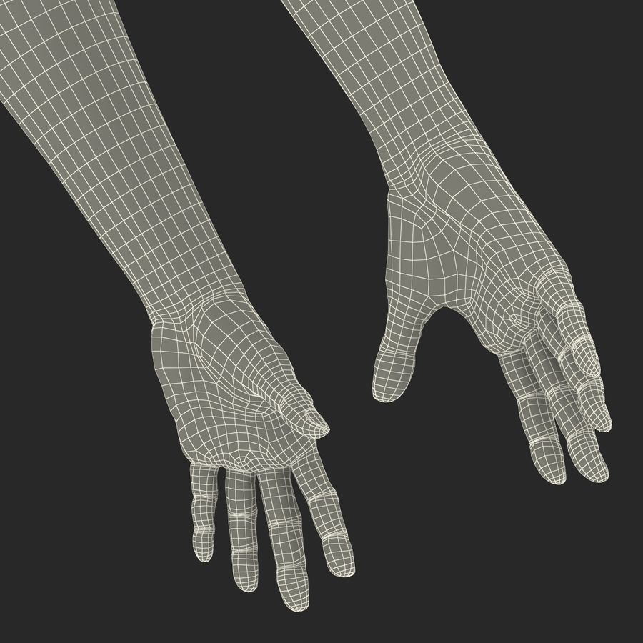 Old Man Hands 2 royalty-free 3d model - Preview no. 32