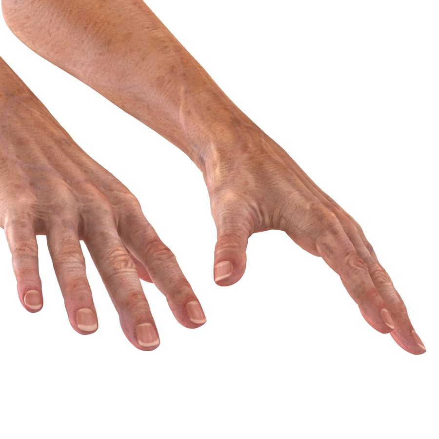 Old Man Hands 2 royalty-free 3d model - Preview no. 14
