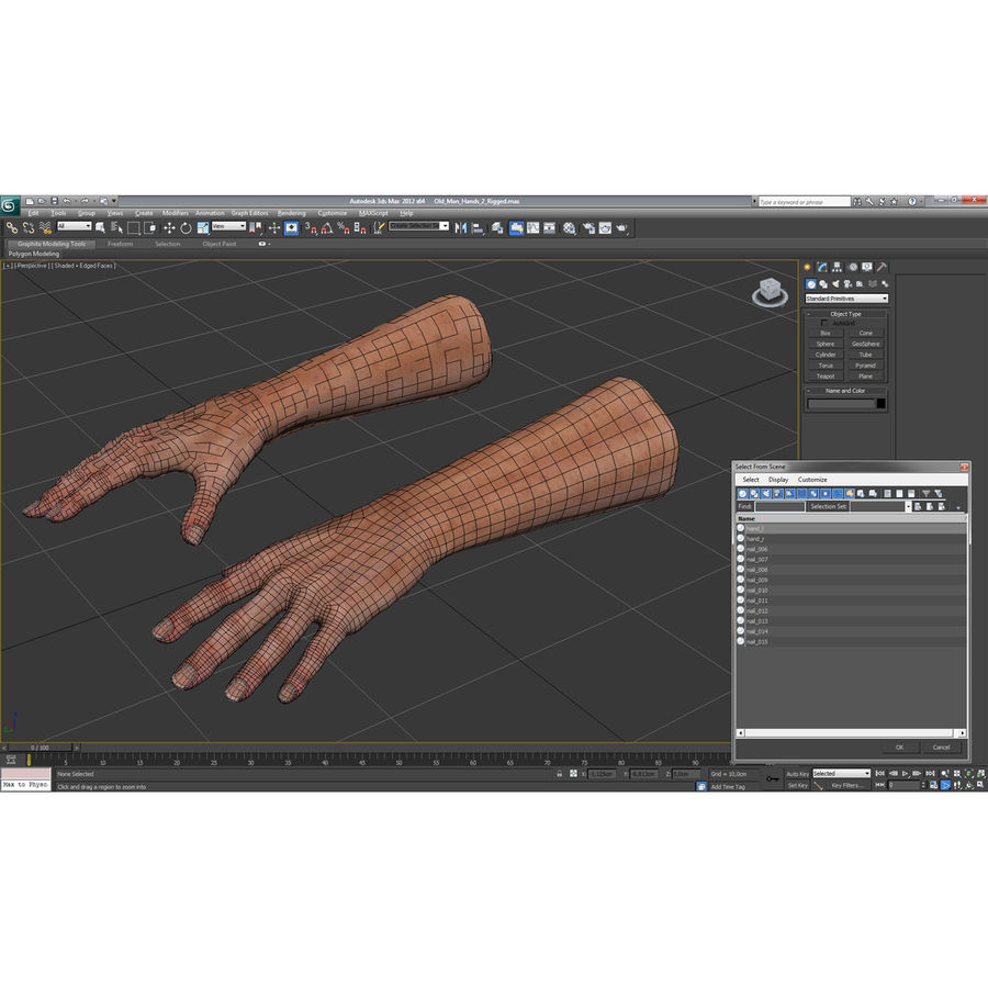 Old Man Hands 2 royalty-free 3d model - Preview no. 28